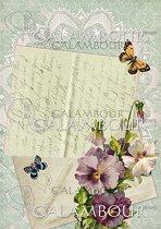 Декупажна хартия - Писмо, цветя и пеперуди 010