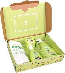 Комплект Бочко - От първия ден - Бебешки шампоан, мляко за тяло, крем при подсичане и пелена - шампоан