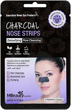 MBeauty Charcoal Nose Strips - Почистващи лепенки за нос с активен въглен - опаковка от 5 броя - мокри кърпички