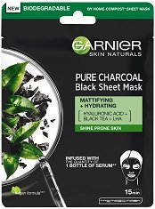 Garnier Skin Naturals Pure Charcoal Black Tissue Mask - серум