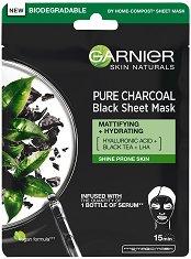 """Garnier Skin Naturals Pure Charcoal Black Tissue Mask - Черна памучна маска за мазна и склонна към лъщене кожа от серията """"Skin Naturals"""" - шампоан"""