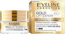 """Eveline Gold Lift Expert 60+ Cream Serum with 24K Gold  - Подмладяващ дневен и нощен крем-серум за лице със златни частици от серията """"Gold Lift Expert"""" - крем"""