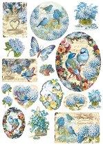 Декупажна хартия - Птици и пеперуда - Формат А4