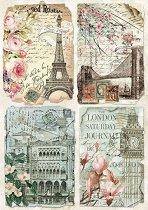 Декупажна хартия - Пощенски картички