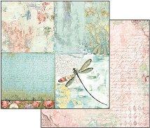 Хартия за скрапбукинг - Водно конче и рози - Размери 30.5 х 30.5 cm