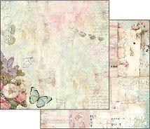 Хартия за скрапбукинг - Пеперуди и цветя - Размери 30.5 х 30.5 cm