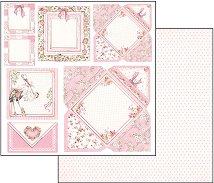 Хартия за скрапбукинг - Картичка за момиченце - Размери 30.5 х 30.5 cm