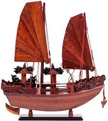 Джонка с дървени платна - Декоративен кораб от дърво -