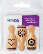 Гумени печати - Сърце и цветя - Комплект от 3 броя - продукт