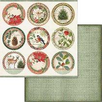 Хартия за скрапбукинг - Коледни мотиви - Размери 30.5 х 30.5 cm