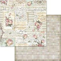 Хартия за скрапбукинг - Рози и надписи