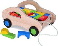 Дървена количка за дърпане - Комплект с конструктор - несесер