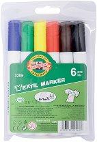 Маркери за текстил - Комплект от 6 цвята