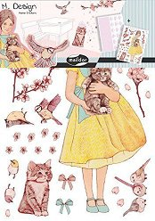 Стикери за декорация - Mомиченце с котенца