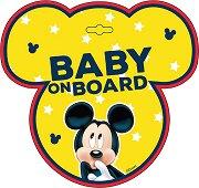 Табела с надпис Baby on Board - Мики Маус - пюре