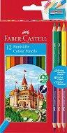 Цветни моливи - Замък - Комплект от 15 или 27 броя и острилка