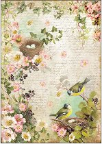 Декупажна хартия - Цветя и гнезда - Формат А4