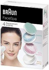 Braun FaceSpa 80MV Refills - Комплект от витализиращ накрайник, резервни четки и козметична гъба за лице -