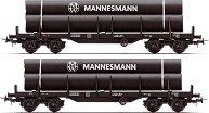 Товарни вагони - платформи носещи метални тръби - ЖП модели - комплект от 2 броя -