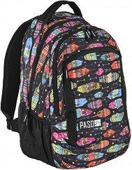 Ученическа раница - Цветни пера - Комплект с портмоне и несесер за химикалки - несесер