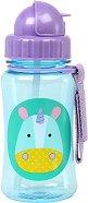 """Неразливаща се чаша със сламка - Еднорогът Юрика 350 ml - За бебета над 12 месеца от серията """"Zoo"""" - купичка"""