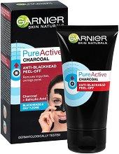 """Garnier Pure Active Charcoal Anti-Blackhead Peel-Off - Черна отлепяща се маска за лице с активен въглен от серията """"Pure Active"""" - душ гел"""