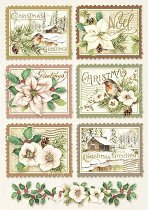 Декупажна хартия - Коледни марки