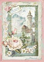 Декупажна хартия - Замък и рози - Формат А4