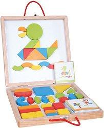 Куфарче с магнитна дъска и форми - Дървен комплект за игра - играчка
