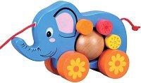 Слончето Сиси - Дървена играчка за дърпане -