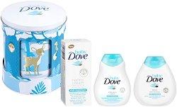 Бебешки подаръчен комплект - Baby Dove Lullaby Box - Шампоан, лосион за тяло и крем против подсичане -