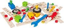 Детски дървен конструктор - Превозни средства - Комплект от 75 части -