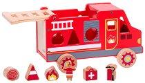 Сортер - Пожарна кола - Дървена играчка - играчка