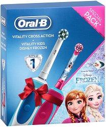 Oral-B Vitality Cross Action + Vitality Kids Disney Frozen - Семеен комплект от 2 броя електрически четки за зъби - продукт