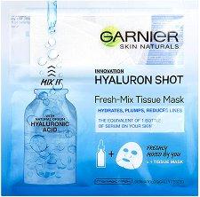 "Garnier Skin Naturals Hyaluron Shot Fresh-Mix Tissue Mask - Изглаждаща маска за лице с хиалурон от серията ""Skin Naturals"" - маска"