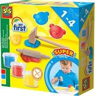 """Пластилин с инструменти от дърво - Комплект от 3 цвята с чукче и точилка от серията """"SES Creative: За най-малките"""""""