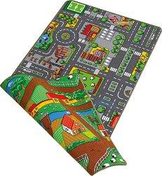 Двулицево килимче за игра - Град и ферма - Размери 67 x 100 cm - играчка