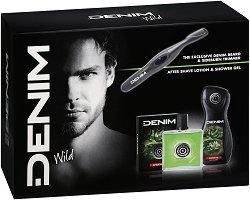 Подаръчен комплект - Denim Wild - Афтършейв, душ гел и електрически тример -