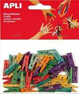 Цветни дървени щипки - Комплект от 45 броя с дължина 25 mm