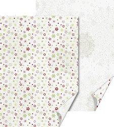 Двустранен картон за скрапбукинг - Звезди и снежинки - Размери 50 х 70 cm