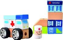 Дървен конструктор - Болница - 21 части - творчески комплект