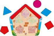 Кой е в къщата? - Детски дървен пъзел в нестандартна форма -