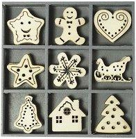 Дървени фигурки - Sweet Xmas - Комплект от 45 броя в кутия