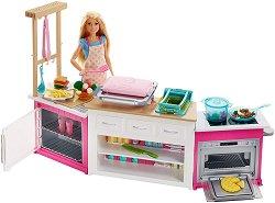 """Барби с кухня и тесто за игра - Комплект за игра със звукови и светлинни ефекти от серията """"Barbie"""" - играчка"""