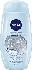 Nivea Clay Fresh Blue Agave & Lavender Deep Cleansing Shower - Дълбоко почистващ душ гел с глина и аромат на синьо агаве и лавандула - лакочистител