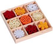 Фигурки от филц - Цветя - Комплект от 45 броя в кутия