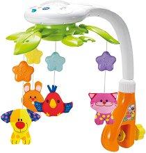 Музикална въртележка с проектор - Животни - Играчка за бебешко легло -