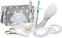 Комплект за новородено в несесер - Welcome Set - 8 части със залъгалка, дъвкалка, ножичка, четки за зъби и четка за коса -