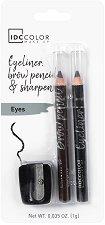 IDC Color Eyeliner & Brow Pencils - Комплект моливи за очи и вежди с острилка - продукт