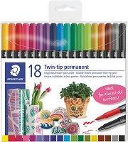 Двувърхи перманетни маркери - Комплект от 18 или 36 цвята